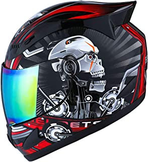 1STORM MOTORCYCLE BIKE FULL FACE HELMET MECHANIC SKULL - Tinted Visor RED Size L (57-58 CM 22.4/22.8 Inch)