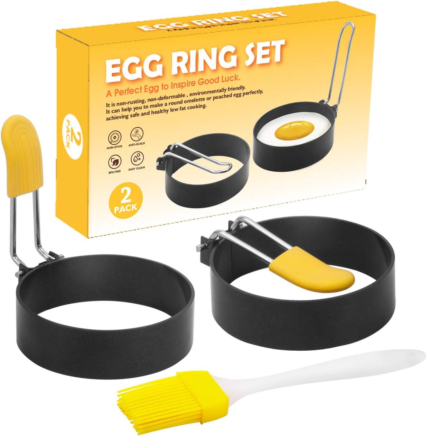 UPYEEJA Egg Rings for Frying Eggs, 2 Pack Nonstick Egg Cooking Rings (Oil Brush Included), Egg Mold for Cooking, Round Egg Cooker Ring