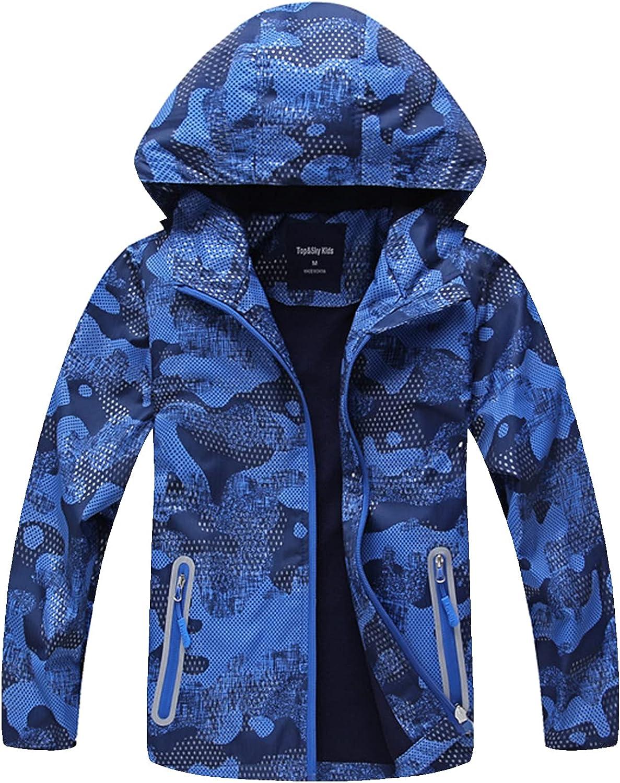 SHIBASHAN Boys Girls Waterproof Jackets, Windbreaker Rain Coats for children, Lightweight Windproof Outdoor Raincoat kids