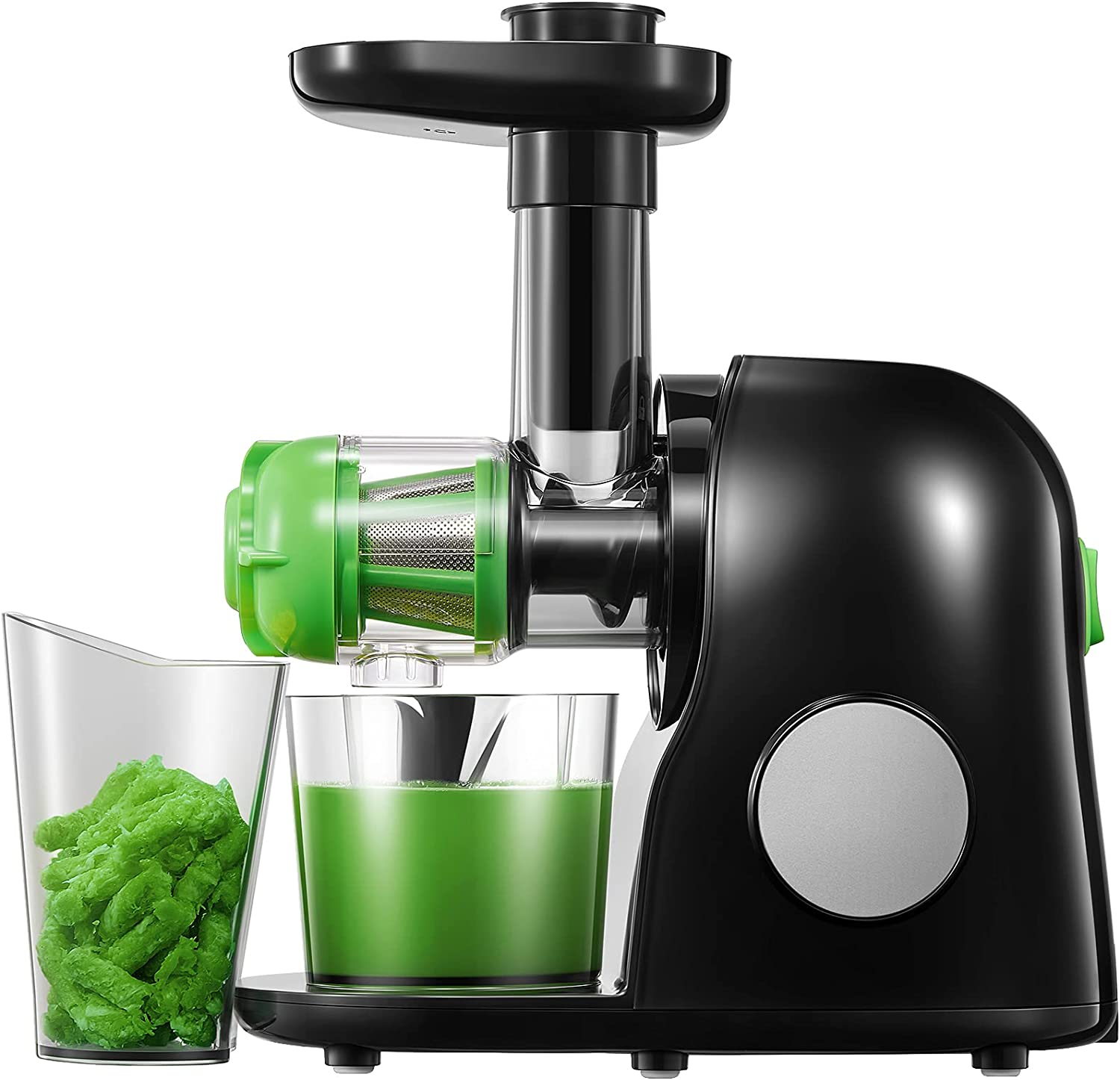 Juicer Machines, Slow Masticating Juicer Extractor Easy to Clean, Quiet Motor & Reverse Function, BPA-Free, Cold Press Juicer with Brush, Juice Recipes for Vegetables and Fruits, Classic Black