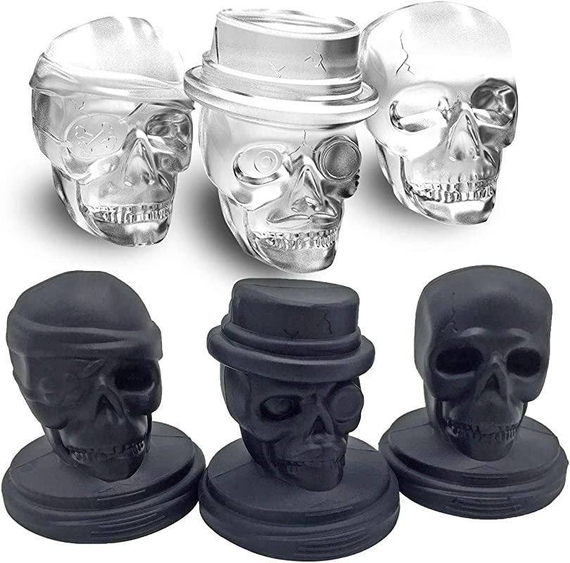 Kidac Skull Ice Cube Mold Creative 3D Skull Mold Food Grade Flexible Silicone Skull Ice Cube Tray For Chilling Drinks BPA Free Set Of 3 Different Skull Molds