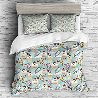 Cotton Bedding Sets Duvet Cover with Pillowcases Printed Comforter Cover Sets(King Size) Ice Cream Decor,Cute Cupcakes with Face Figures Cone Bars Creative Funny Caricature Image Decorative,Multicolo