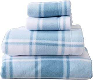 Great Bay Home Super Soft Extra Plush Plaid Fleece Sheet Set. Cozy, Warm, Durable, Smooth, Breathable Winter Sheets with Plaid Pattern. Dara Collection Brand. (Queen, Stone Blue)