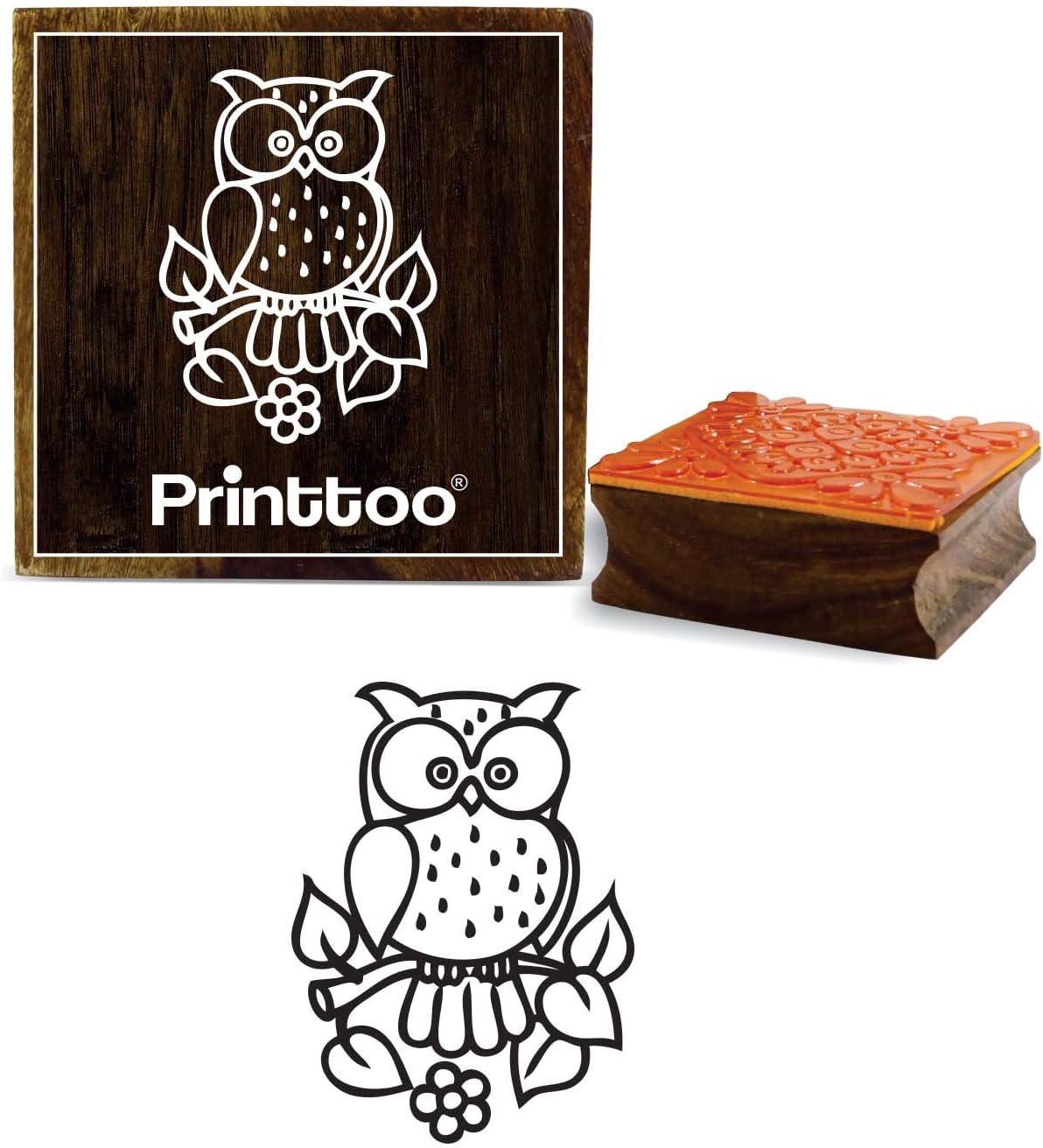 Printtoo Stampo in legno marrone timbro di gomma gufo modello quadrato artigianato tessile francobolli-2 x 2 pollici
