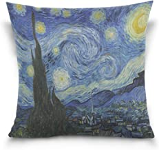 Hokkien Blue Viper Van Gogh Painting Starry Night Decorative Square Throw Pillow Case Cushion Cover for Sofa Bedroom Car Double-Sided Design 18 x 18 inch