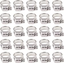 Rustark 25-Pcs Adjustable [8 to 12mm] Range Worm Gear Hose Clamp Clips Fuel Line Clamps Assortment Kit for Plumbing - 304 Stainless Steel
