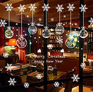 RUIZD 220 Pcs Christmas Window Clings Christmas Window Stickers Snowflake Window Clings Decals for Christmas Decorations Holiday Decorations Ornaments Party Supplies 6 Sheets (White)