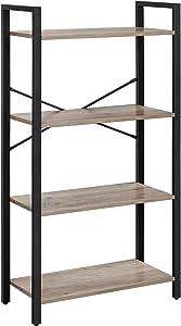 VASAGLE Bookshelf, 4-Tier Bookcase, Living Room Standing Unit Shelf, Stable Steel Frame, Bedroom, Office, Industrial Design, Greige and Black ULLS060B02