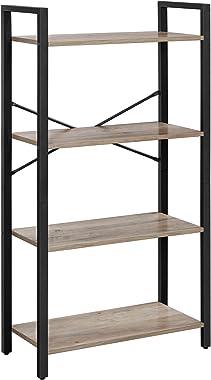 VASAGLE Librería de 4 niveles, estantería de salón de pie, marco de acero estable, dormitorio, oficina, diseño industrial, Gr