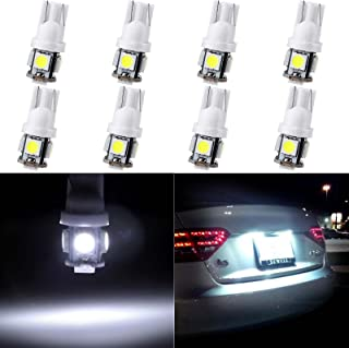 ECCPP T10 LED Bulbs 194 168 175 2825 W5W Super Bright 12V White LED Bulb 5-5050 SMD License Plate Light Pack of 8