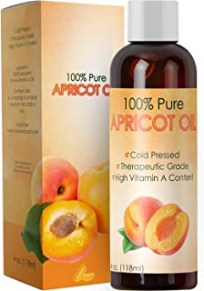 Pure Apricot Oil for Face Healthy Skin and Hair Growth – Cold Pressed from Apricot Kernel Seeds – Massage Carrier Oil for ...