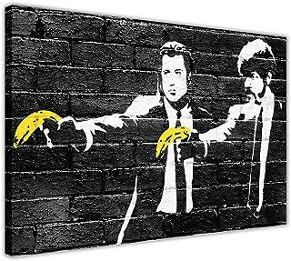 Pintura de lienzo Banksy Pulp Fiction Plátanos amarillos Impresiones de lienzo Arte de la pared Imágenes Decoración de la habitación Cartel Impresión negra 80x120cm (31.5x47.2 pulgadas) Sin marco