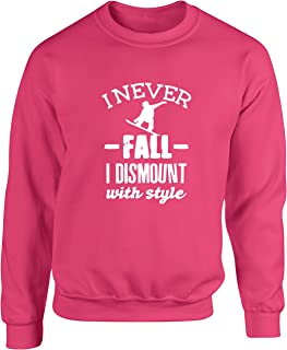 Hippowarehouse I Never Fall Off I Dismount with Style - Snowboard Unisex Jumper Sweatshirt Pullover (Specific Size Guide i...