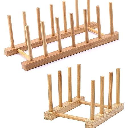 2 Pcs égouttoir Bambou, Support de Plat en Bois de Bambou, Égouttoir à Vaisselle pour Assiettes, Bols, Tasses, Couvercles Casseroles, Planches Découper, Livres(3 Grilles, 6 Grilles)