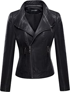 Best ladies leather jacket no collar Reviews