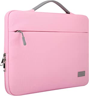 MoKo Laptop Sleeve Handbag Compatible with 13-13.3 inch MacBook Pro/MacBook Air, Protective Oxford Cloth Multifunctional Notebook Computer Carrying Case Cover with Front Pocket, Pink
