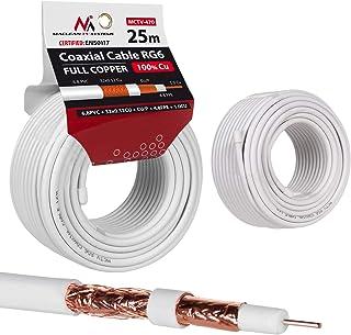 Maclean MCTV Cable de antena coaxial RG6 Cobre puro 100% CU Cable de antena de TV satelital coaxial (25m)