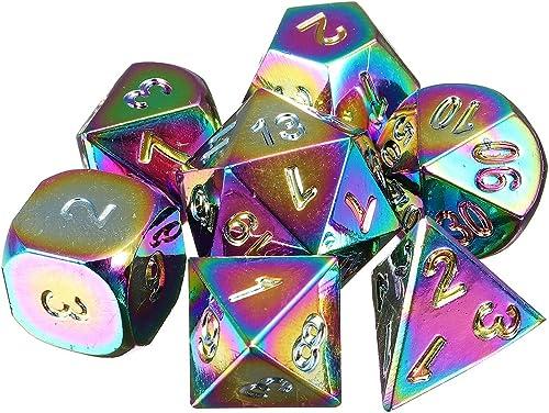 Garantía 100% de ajuste DADEQISH 7Pcs Rainbow Rainbow Rainbow Metal Polyhedral dados DND RPG MTG Juego de rol con bolsa Accesorios para herramientas  gran descuento