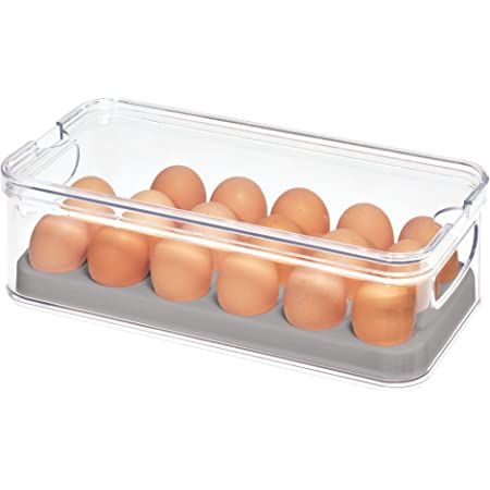 """iDesign 71653 Crisp Plastic Refrigerator and Pantry Egg Bin, Modular Stacking Food Storage Box for Freezer, Fridge, Holds up to 18 Eggs, BPA Free, 12.72"""" x 6.32"""" x 3.88"""", Clear and Gray"""