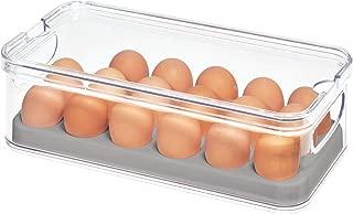 iDesign Crisp Plastic Refrigerator and Pantry Egg Bin, Modular Stacking Food Storage Box for Freezer, Fridge, Holds up to 18 Eggs, BPA Free, 12.72