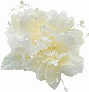 [ミッシュキッシュ]コサージュ ブローチ クリップ ボリューム満点の花びらが美しいパールやビーズをちりばめたコサージュ 17296