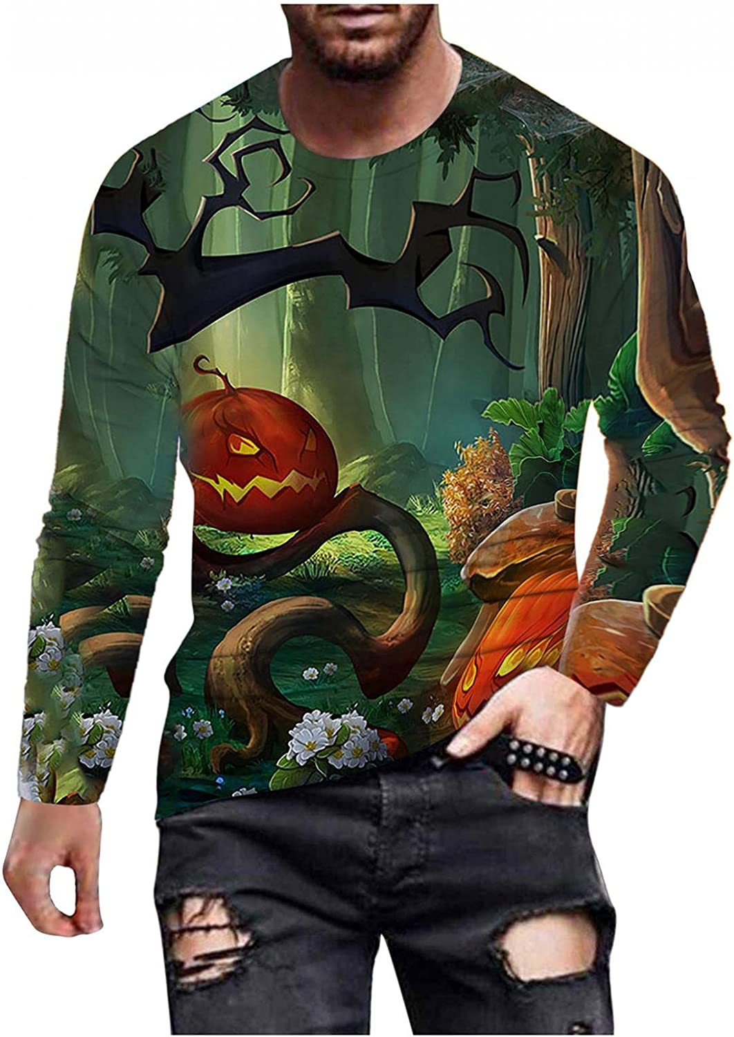 Mens Halloween T Shirt Long Sleeve Crew Neck Printed Top Novelty Funny Graphic Tee Blouse Casual Loose Pullover Shirts