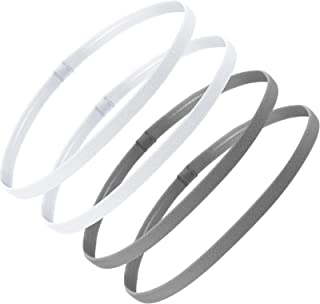 4 Pieces Thick Non-Slip Elastic Sport Headbands Hair Headbands for Women and Men (White, Gray)