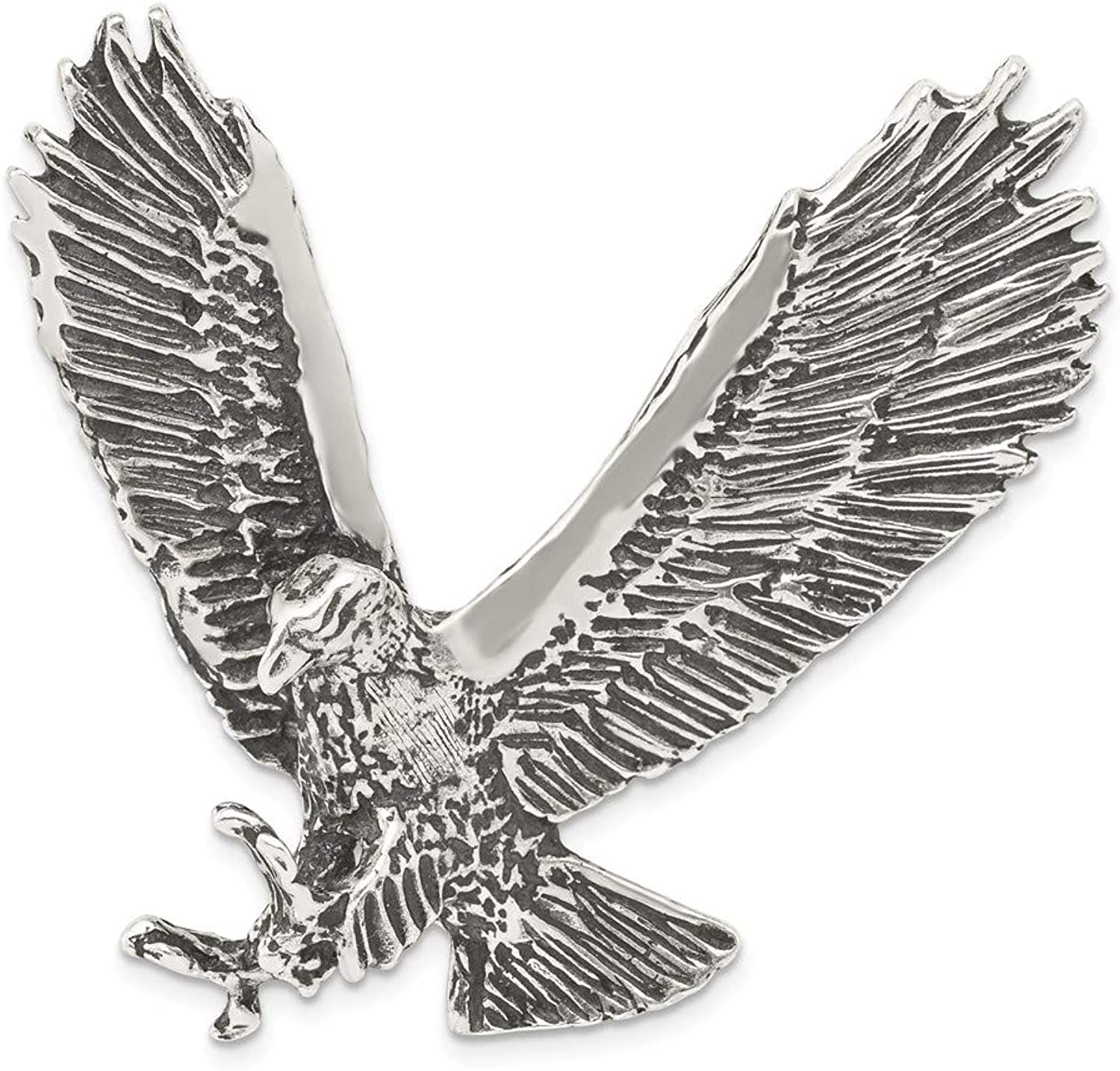 Beautiful Sterling silver 925 sterling Sterling Silver Antiqued & Textured Eagle Chain Slide