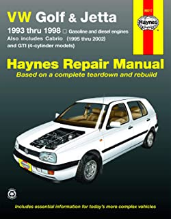 VW Golf, GTI & Jetta (93-98),Cabrio (95-02), with 1.8L & 2.0L Gas Engines & 1.9L Diesel Engine Haynes Repair Manual (Does not include 2.8L VR6 engine.)