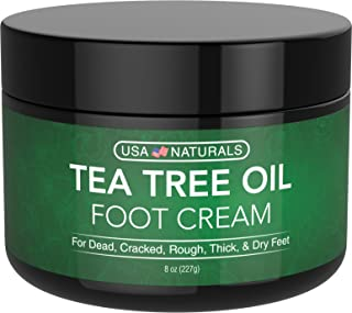 Tea Tree Oil Foot Cream - Instantly Hydrates and Moisturizes Cracked or Callused Feet - Rapid Relief Heel Cream - Antifungal Treatment Helps & Soothes Irritated Skin, Athletes Foot, Body Acne