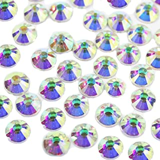 1440pcs Spangle Nail Art Rhinestones AB Nail Crystal Flat Back Circular Glass Stones for 3D Nails Art Decorations Manicure Tools 4.8mm (Crystal AB ss20)