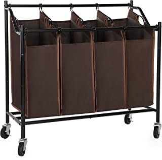 SONGMICS URLS90Z Laundry Sorter Cart, Brown