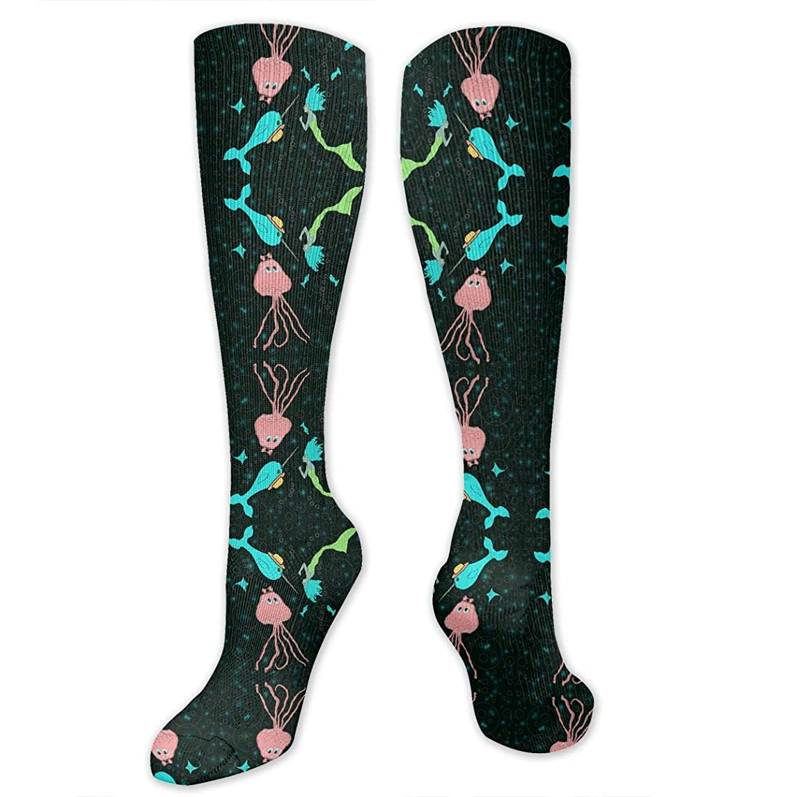 Avazz Kawaii Mermaid Fantasy with Narwal and Squid Compression Socks for Men & Women - Best for Running Athletic Pregnancy and Travel