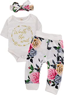 Sponsored Ad - Little Baby Girl Newborn Bodysuit Outfit Worth The Wait Print Romper Top+Floral Legging Pants Set with Bowk...