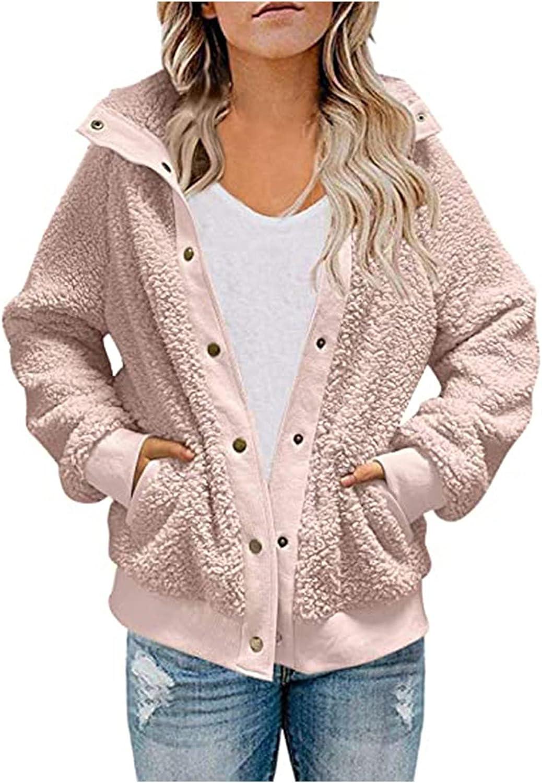 Womens Winter Coat Warm Faux Jacket Button Solid Long Sleeve Wool Lamb Splicing Button Down Outerwear