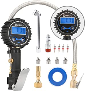 WYNNsky Digital Tire Pressure Gauge 200 PSI and Compressor Accessories Heavy Duty Inflator with Stainless Steel Braided Hose, Dual Head Air Chuck and Quick Connect Coupler, Easy Read Glow Dial