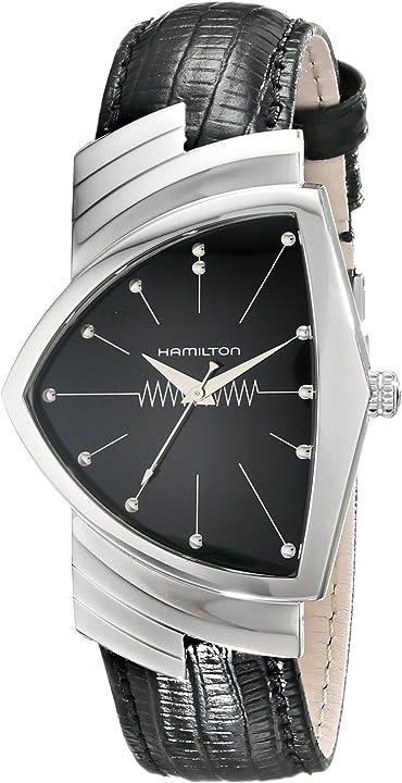 Orologio hamilton ventura da uomo in acciaio inox con cinturino in pelle nera h24411732
