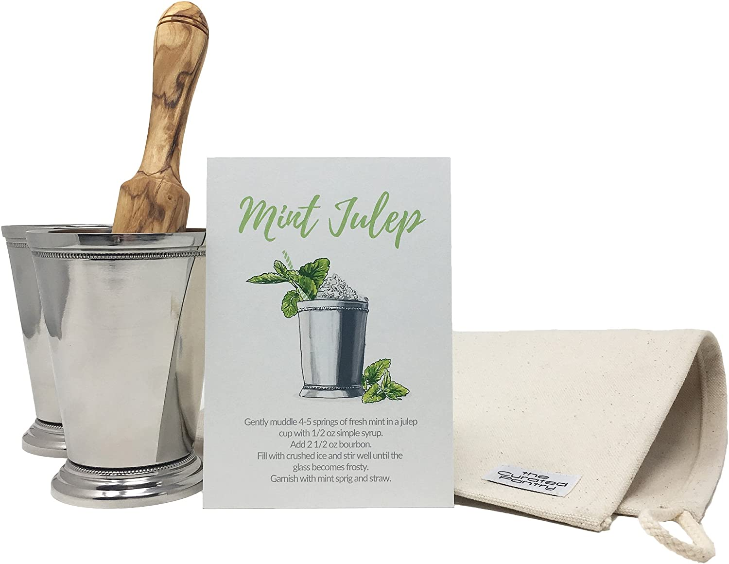 Mint Julep Cocktail Essential Tool Kit - (2) 12oz Cups, Lewis Bag, Muddler Mallet and Recipe Card (5 items)