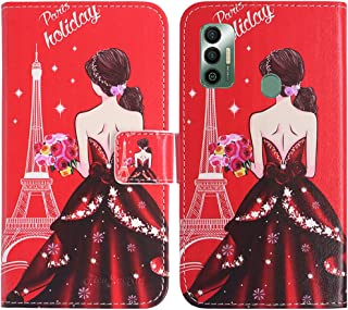 TienJueShi Dream Girl Fashion Stand TPU Silicone Book Stand Flip PU Leather Protector Phone Case For Tecno Spark 7 Pro 6.6...