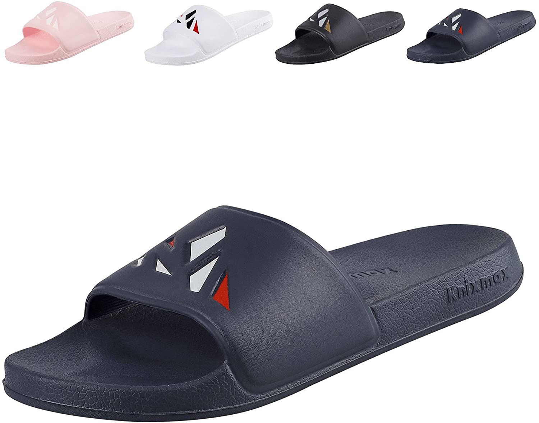 Knixmax Slide Sandals for Women Men, Open Toe Athletic Outdoor Sport Slides, Slip on Beach Bath Shoes House Shower Slippers Unisex