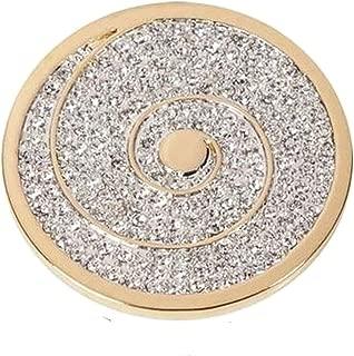 Amello acero inoxidable coin flor de loto 30mm Gold circonita acero joyas esc532yy