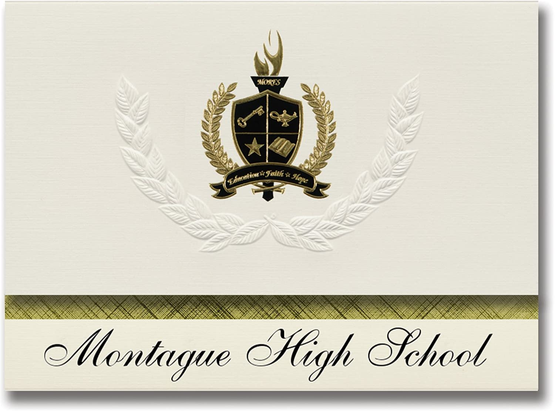 Signature Signature Signature Ankündigungen Montague High School (Montague, mi) Graduation Ankündigungen, Presidential Stil, Elite Paket 25 Stück mit Gold & Schwarz Metallic Folie Dichtung B078VCS7SN | Qualität  af8631