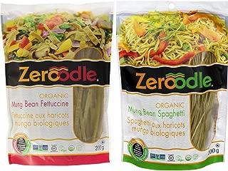 Zeroodle, Organic/Non GMO, Soy Bean, Black Bean, Mung Bean Fettuccine and Spaghetti Vegan Gluten Free Pasta Bundle Pack (2x7.05 oz.) (Mung Bean Pasta Bundle)
