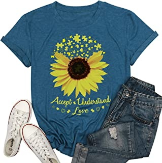 MAXIMGR Accept Understand Love Sunflower T-Shirt Women Cute Funny Graphic Puzzle Tee Casual Short Sleeve Shirt Tops