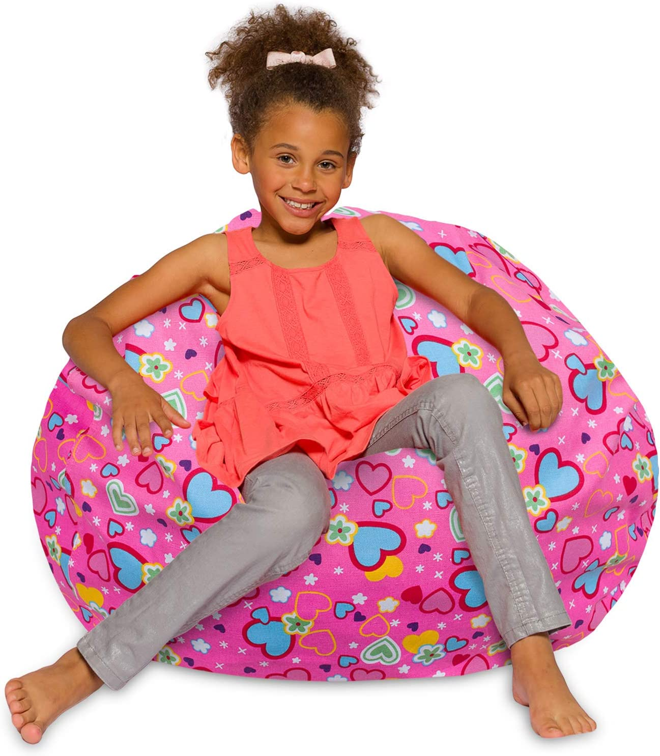 Posh Creations Bean Bag Chair for Kids, Teens, and Adults Includes Removable and Machine Washable Cover, 38in - Large, Canvas Multi-colored Hearts on Pink