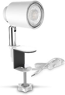 B.K.Licht LED abrazadera de luz incl. 5W GU10 iluminador I blanco cálido I giratorio I inclinación I interruptor de conmutación I metal I blanco mate