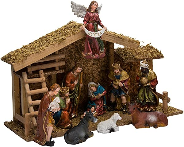 Kurt Adler 12 Piece Nativity Set With Wooden Stable