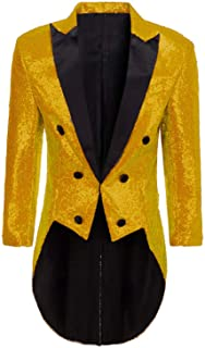 DGMJ Sequins Tailcoat Circus Costume Men for Party Stylish Dinner Jacket Outwear Tuxedo Cosplay Show JK005