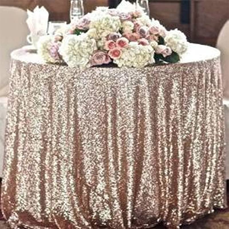 TRLYC 108 Round Champagne Glitz Sequin Table Cloth For Wedding And Event Shimmer Fabric
