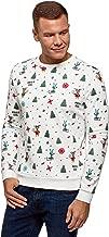oodji Ultra Homme Sweat-Shirt à Col Rond et Imprimé Hivernal